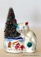 Cat and Fish Bowl Bottle Brush Christmas Tree