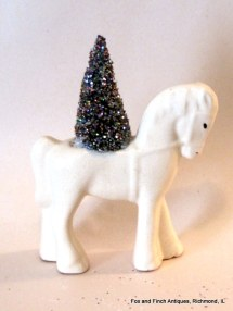 White Horse Planter with Bottle Brush Christmas Tree