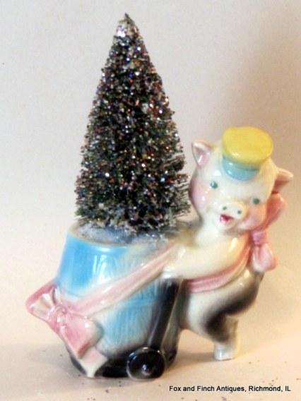 The Piggie Planter Bottle Brush Christmas Tree