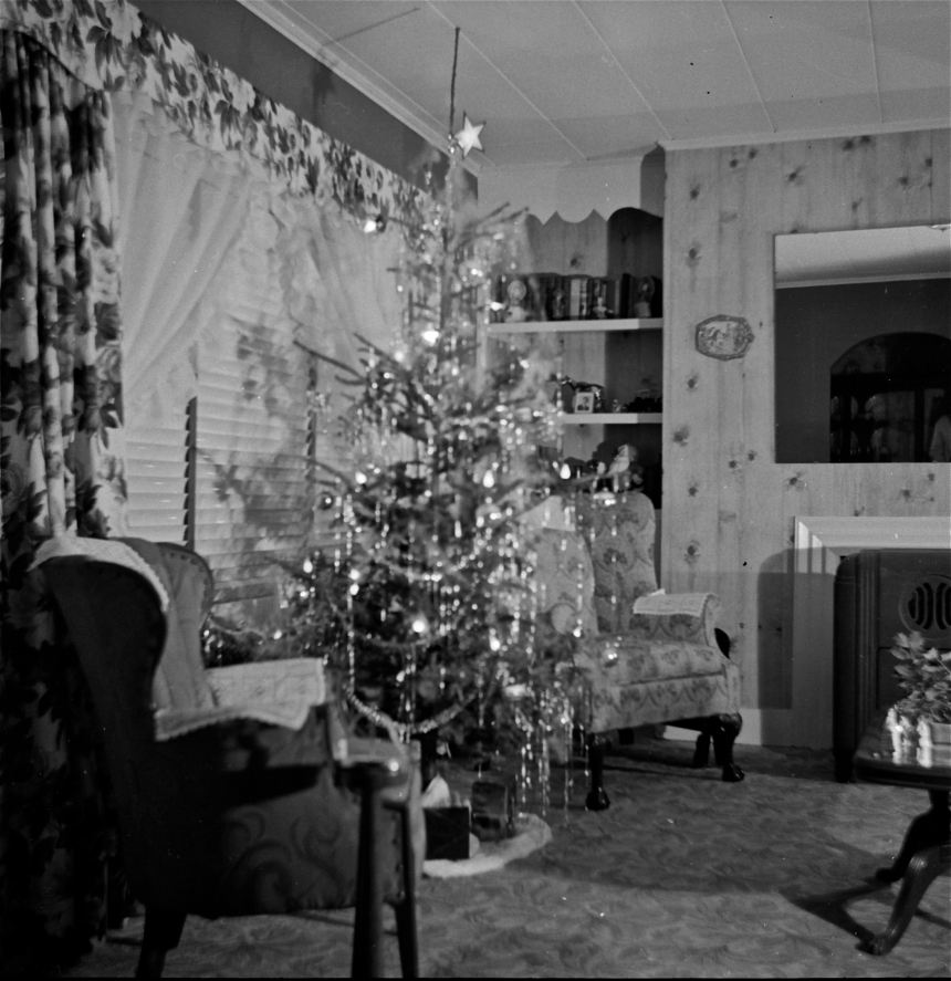 1950 christmas black and white