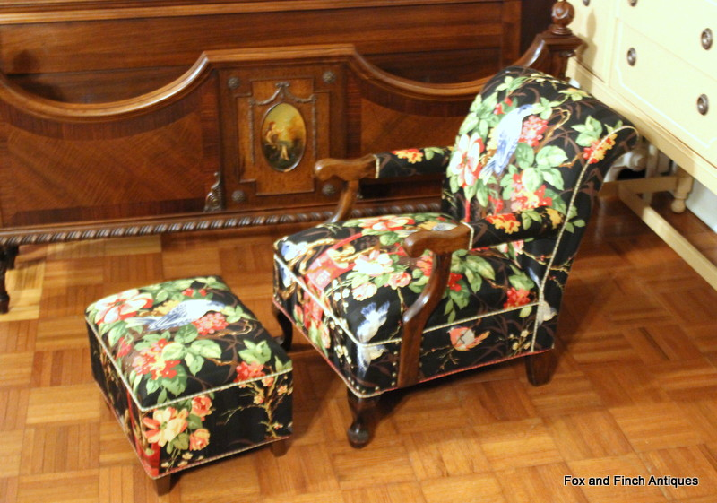 An Edwardian Child's Over-Stuffed Arm Chair with Footstool