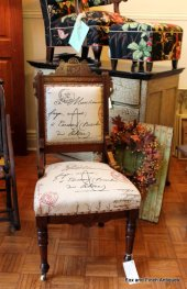 Eastlake Walnut Victorian Chair with Modern Linen Script Fabric